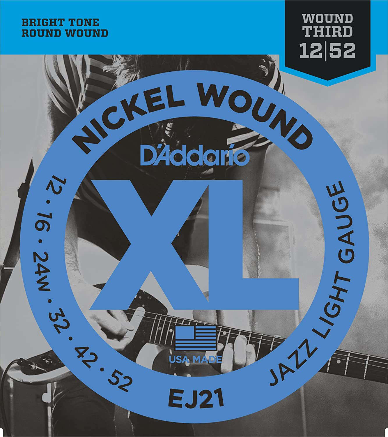 d addario ej21 xl nickel wound jazz light 012 052 wound 3rd