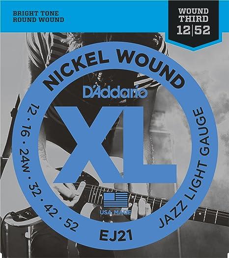 DAddario EJ21 Juego de Cuerdas para Guitarra Eléctrica de Níquel, Plateado