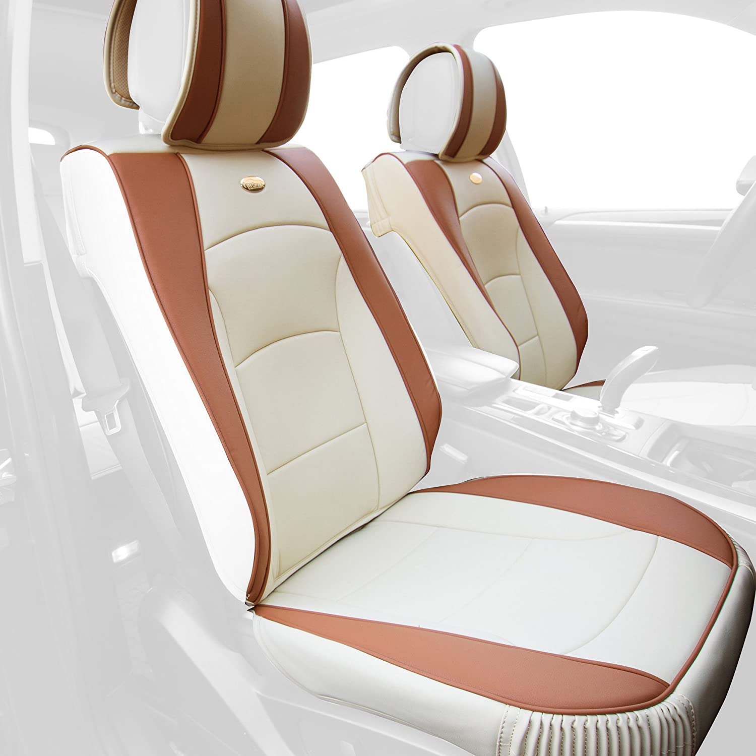FH Group PU205BEIGETAN102 PU205102 Ultra Comfort Leatherette Front Seat Cushions (Airbag Compatible) Beige/Tan