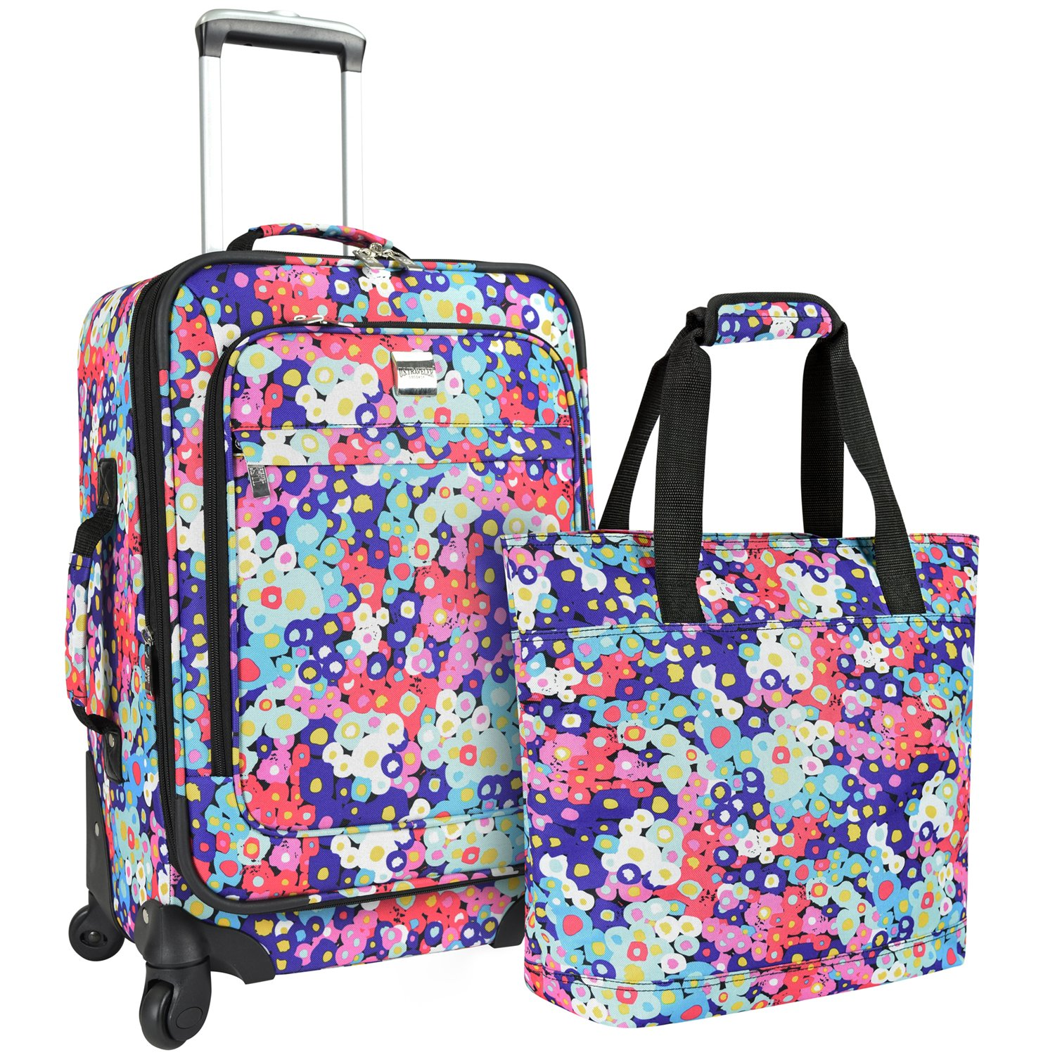 U.S Travelers Lanford 2-Piece Luggage Set (19''/22''), Flower