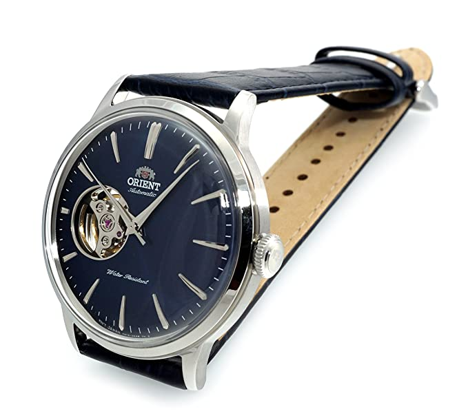 Amazon.com: ORIENT Classic Mechanical Bambino Open Heart Convex Dial Midnight Blue Watch RA-AG0005L: Watches