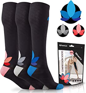 POWERLIX Compression Socks for Women & Men (Pair) 20-30 mmHg - Medical Knee High for Circulation, Swelling, Foot Pain - Support Stockings for Pregnancy, Running, Sports, Nurse, Work, Travel, Gym