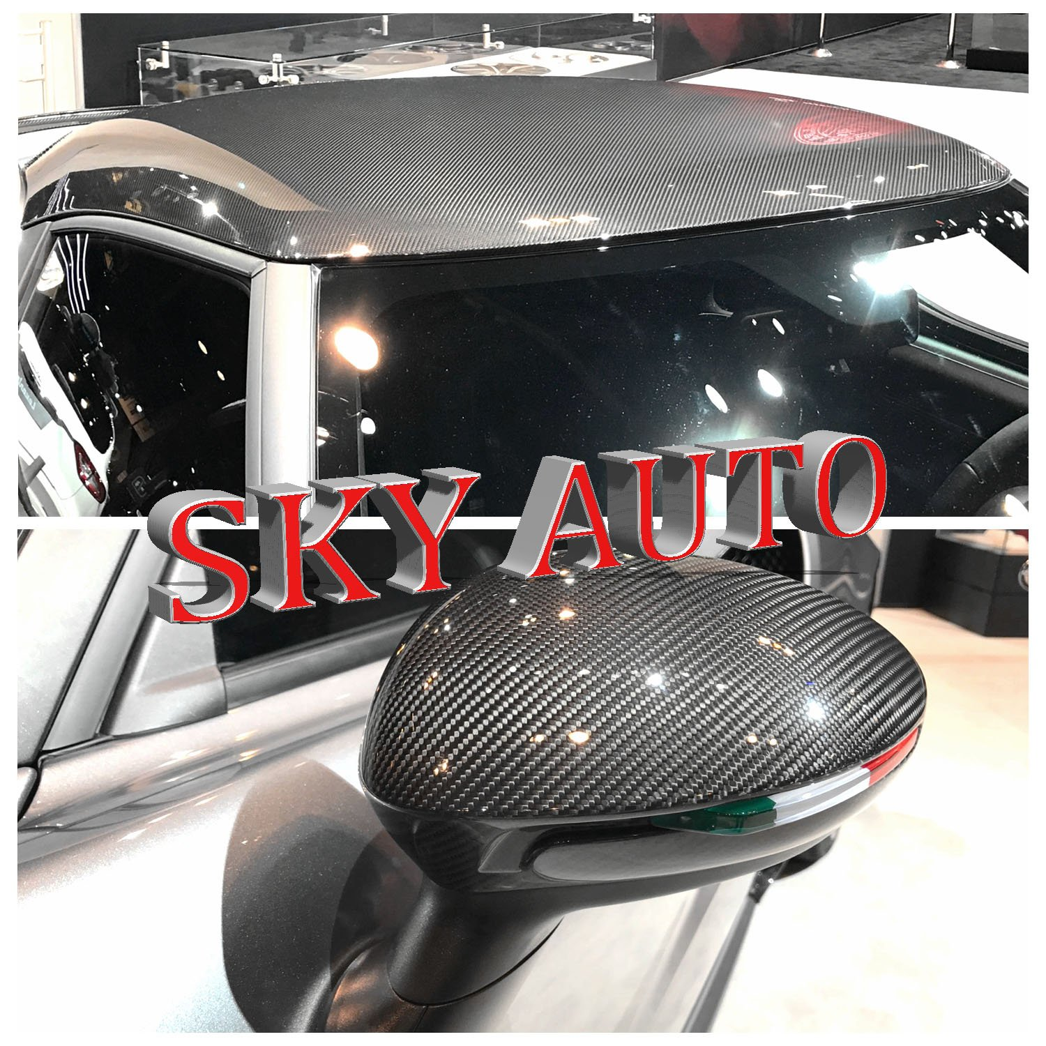 Sky Auto INC 8ft X 5ft 6D Silver Gray GLOSSY Carbon Fiber Vinyl Wrap Sheet With Air Release