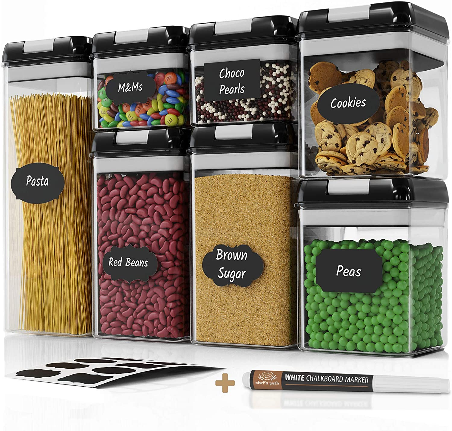 Chef's Path Airtight Food Storage Container Set - 7 PC Set - Labels & Marker - Kitchen & Pantry Organization Containers - BPA-Free - Clear Plastic Canisters for Flour, Cereal with Improved Lids: Home Improvement