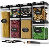 Chef's Path Airtight Food Storage Container Set - 7 PC Set - Chalkboard Labels & Marker - Kitchen & Pantry Containers - BPA-Free - Clear Plastic Canisters with Improved Durable Lids