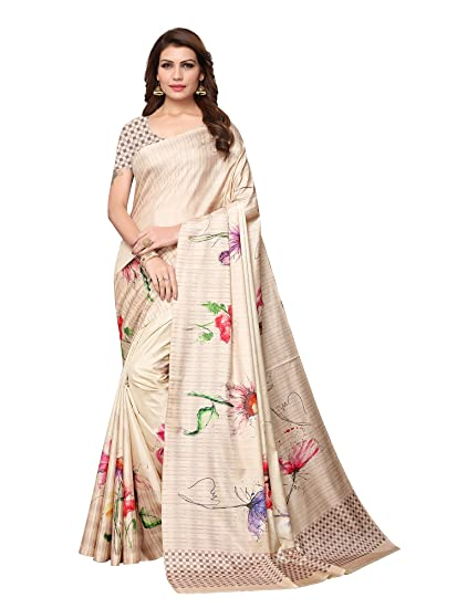 27bd93a3ab1ab9 AKHILAM Women s Floral Digital Print Assam Silk Saree with Unstitched Blouse  Piece (Cream DGTLS57)  Amazon.in  Clothing   Accessories