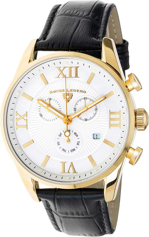 Swiss Legend Belleza 22011-YG-02-BLK - Reloj analógico de Cuarzo Suizo para Hombre, Acero Inoxidable Dorado con Correa de Piel Negra