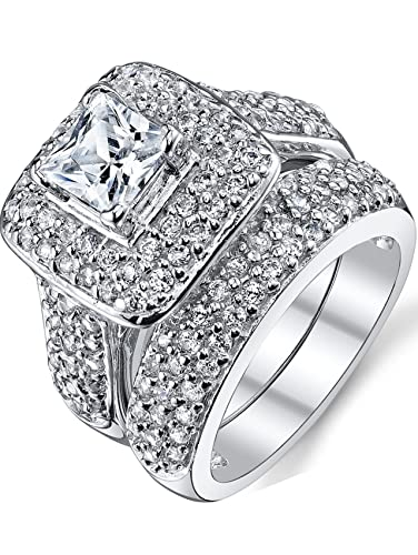 1 carat princess cut cubic zirconia sterling silver 925 wedding engagement ring band set 4 - Cubic Zirconia Wedding Rings