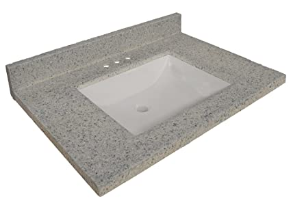 Design House 557546 Wave Bowl Premium Cultured Marble Vanity Top With  4 Inch Backsplash,