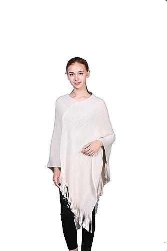 Mujer Color Sólido Extra Grande Ahuecar Ponchos Capa Wrap Con Borlas Y Lurex