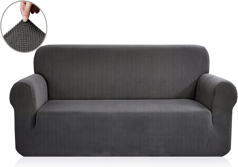 E EBETA Funda de sofá, Tejido Jacquard de poliéster y Elastano, Funda de Clic-clac elástica Cubiertas de sofá de 3 Plaza (Gris Oscuro, 185-235 cm)