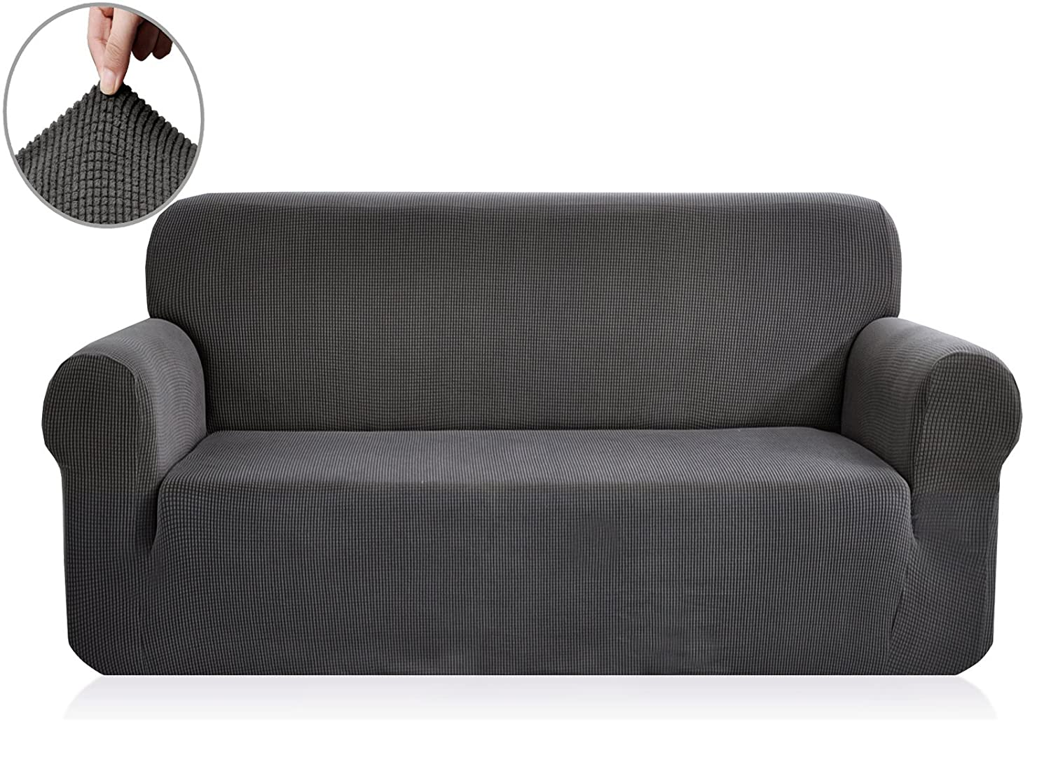 (XL Sofa, Gray) - CHUN YI Jacquard Sofa Covers 1-Piece Polyester Spandex Fabric Slipcover (XL Sofa, Grey) B07BF4H6BH XL Sofa|グレー グレー XL Sofa