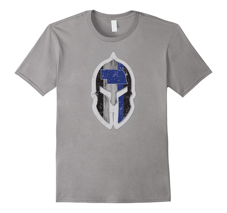 Nebraska State Patrol Shirt Thin Blue Line Spartan Helmet