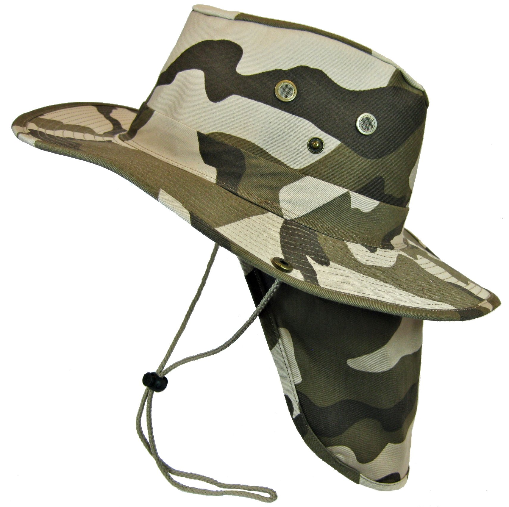 Boonie Bush Safari Outdoor Fishing Hiking Hunting Boating Snap Brim Hat Sun Cap with Neck Flap (Desert Camo, XL) by SW