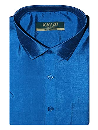 3a4f8ae01597e6 PRAKASAM COTTON Men's Dupion Silk Slim Fit Half Sleeve Shirt (Peacock Blue,  ...