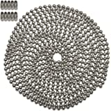 10 Foot Length Ball Chain, #8 Size, Nickel Plated Steel, & 10 Matching Connectors