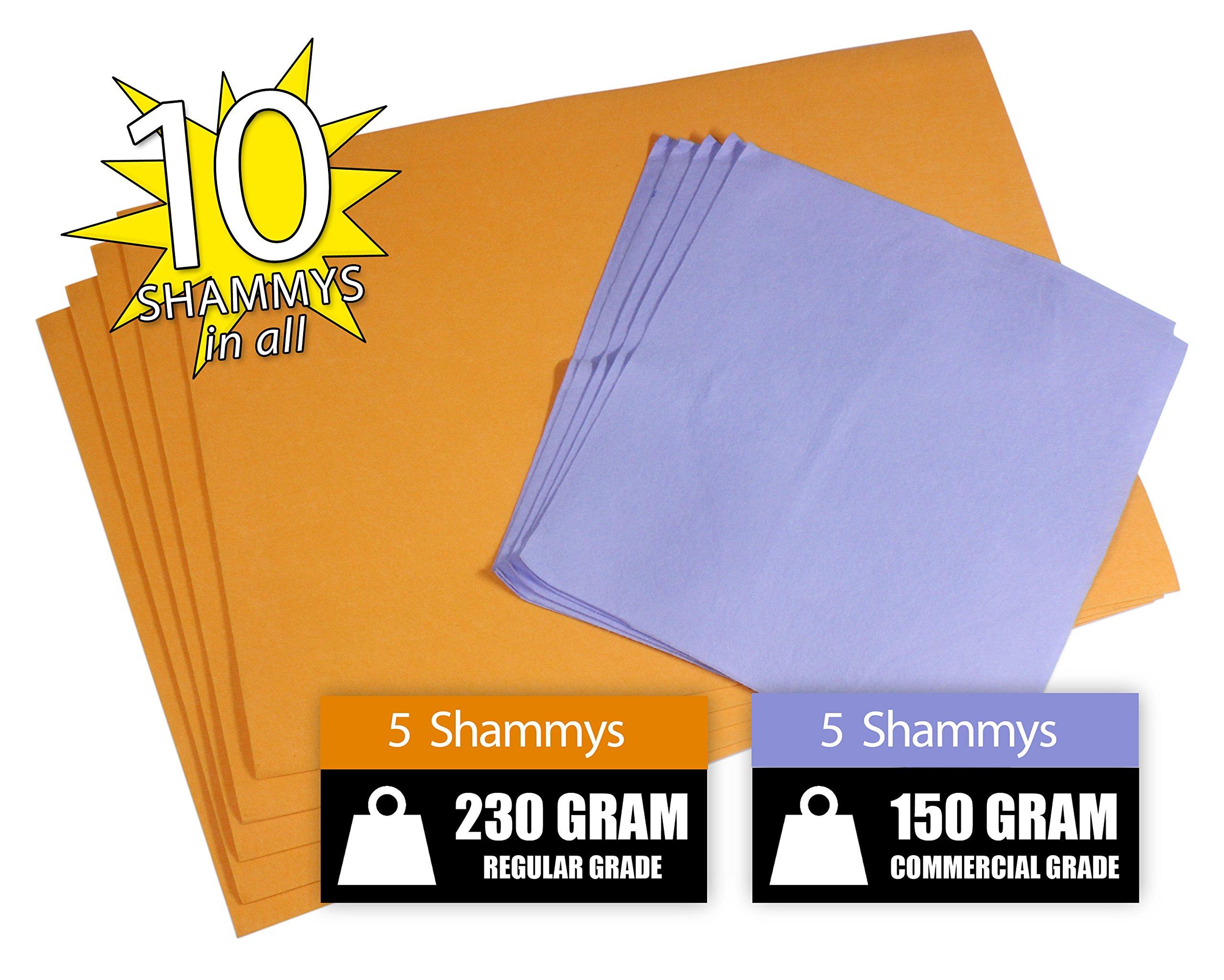The Newest Original German Shammy Chamois Value 50/50 Pack (10, Orange Standard-Blue Commercial)