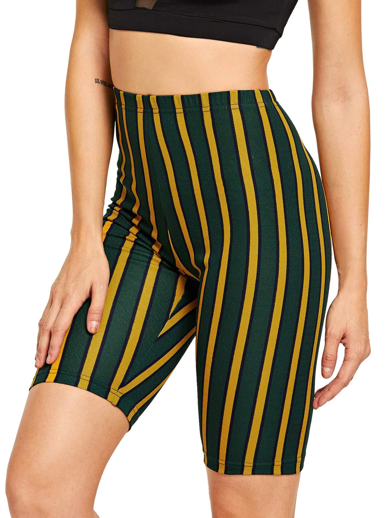 SweatyRocks Women's Sexy Lace Trim Slip Shorts Yoga Bike Active Short Leggings (Large, Green_Mustard)