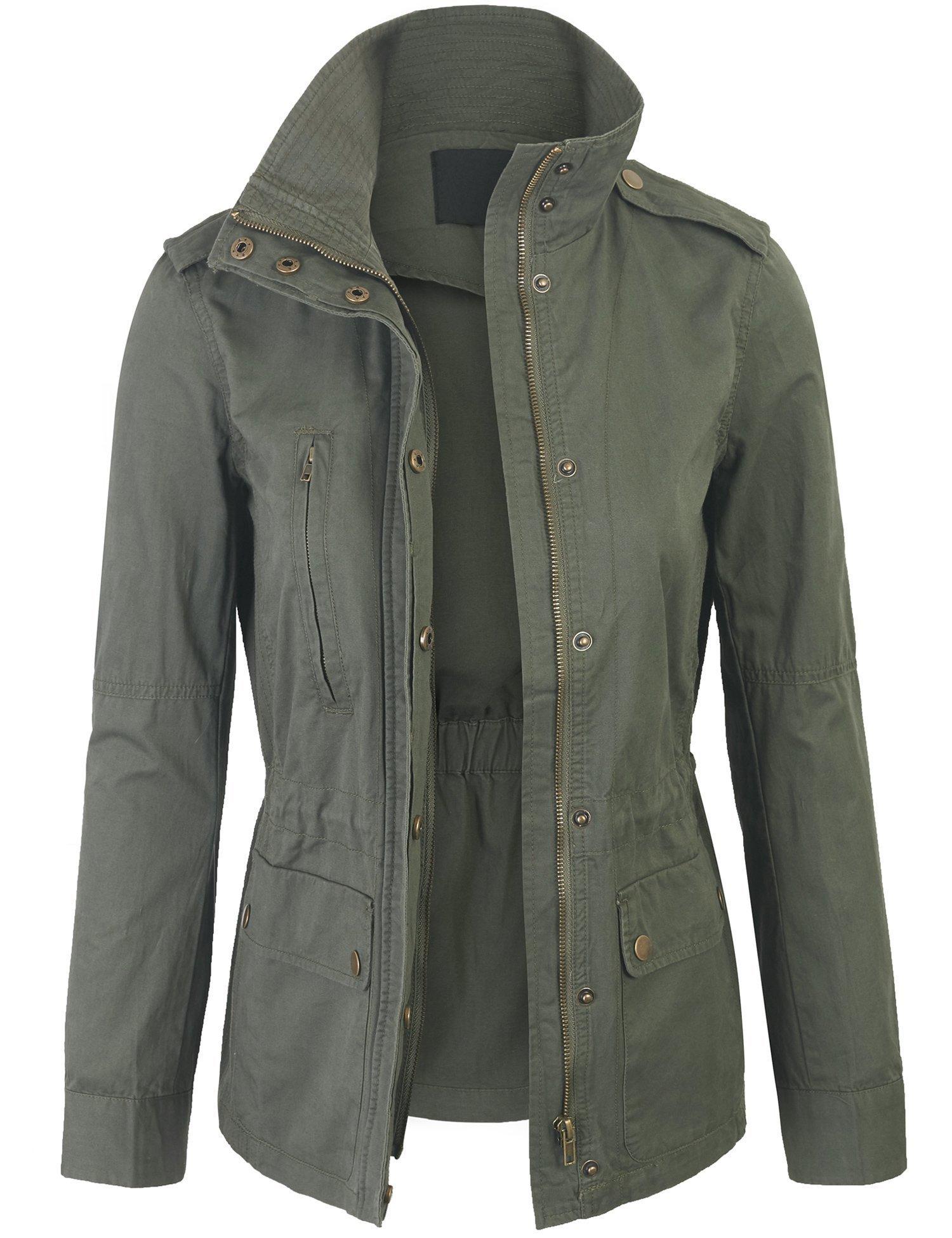 KOGMO Womens Military Anorak Safari Jacket with Elastic Waist Band-M-Olive