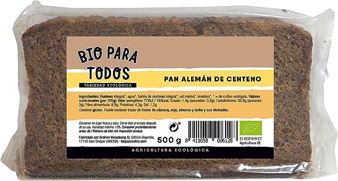 Bio para todos Pan Alemán de Centeno Bio - 12 Paquetes de 500 gr - Total: 6000 gr: Amazon.es: Alimentación y bebidas