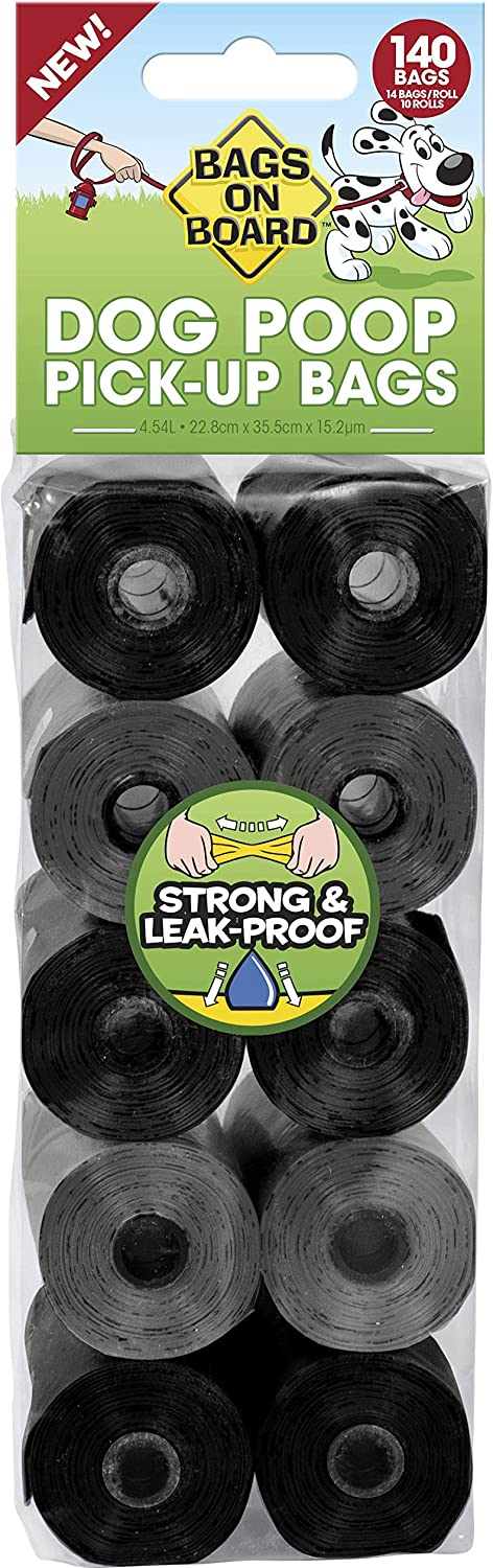 Bags on Board Dog Poop Bags | Strong, Leak Proof Dog Waste Bags | 9 x14 Inches, 140 Bags