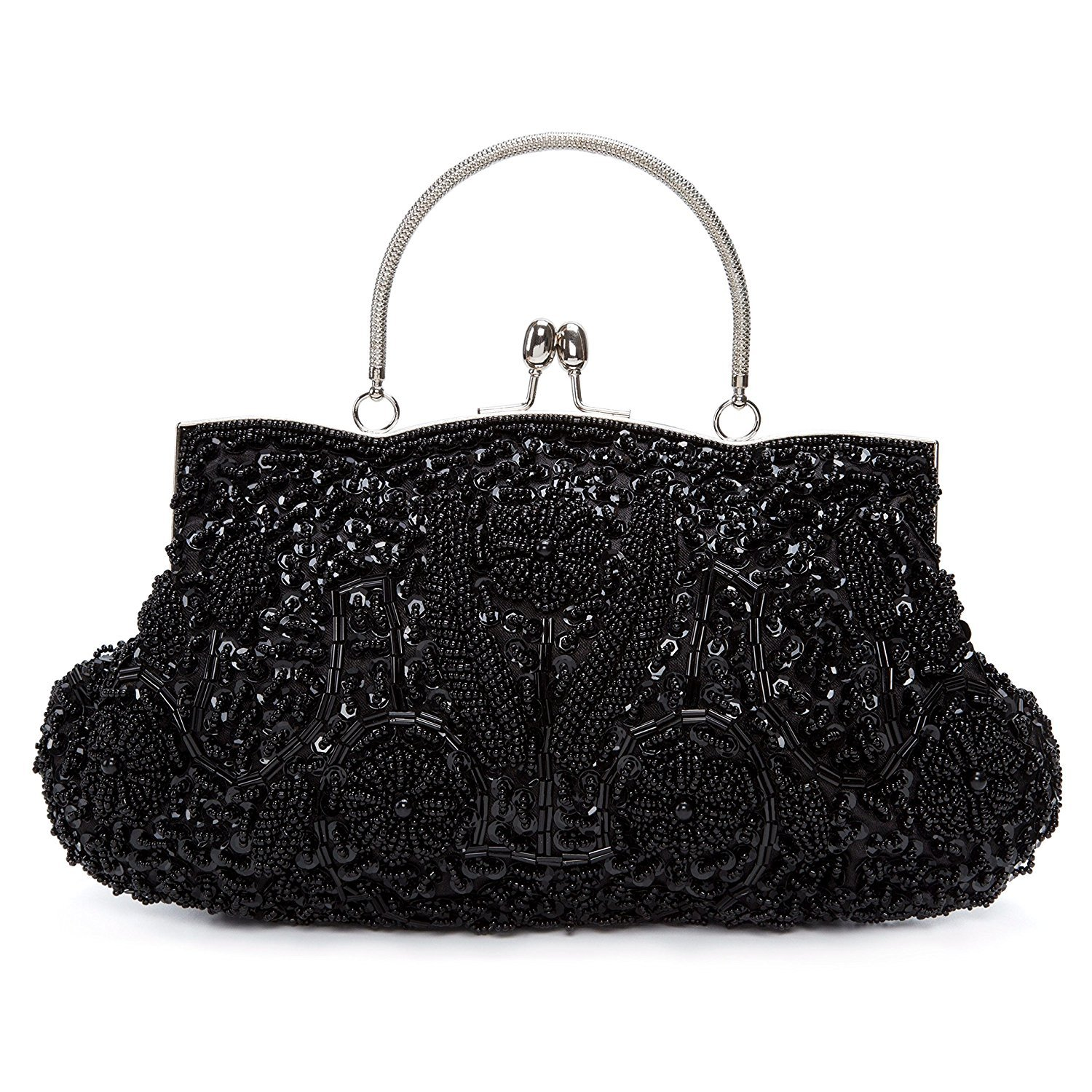MY Women's Vintage Sequin Beaded Kiss Lock Evening Bags Wedding Party Handbag Clutches Purse,Black