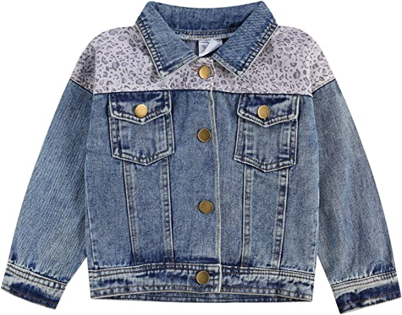 Toddler Kid Baby Girl Coat Long Sleeve Denim Jacket with Heart Shaped Sequin Jean Jacket Fall Spring Outwear 1-5 Years