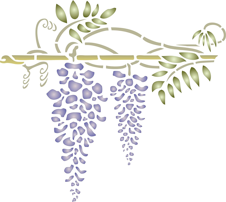 Wisteria Stencil, 8 x 7 inch (S) - Stencils for Walls Original Classic Flower Border Design Stencil Template