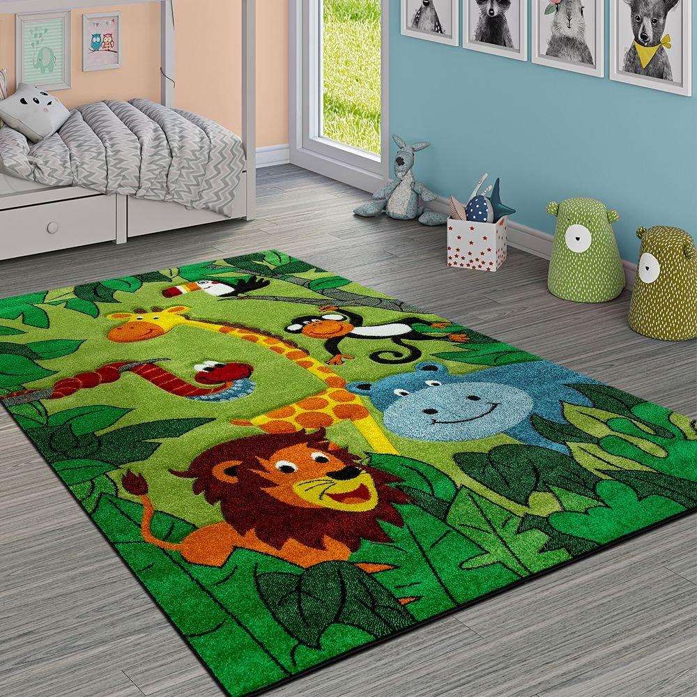 Paco Home Kinderteppich Kinderzimmer Dschungel Tiere Giraffe Löwe AFFE Nilpferd Grün, Grösse:140x200 cm