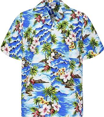 Pacific Legend | Original Camisa Hawaiana | Caballeros | S - 4XL | Manga Corta | Bolsillo Delantero | Estampado Hawaiano | Ondas | Palmeras | Flores | Azul: Amazon.es: Ropa y accesorios
