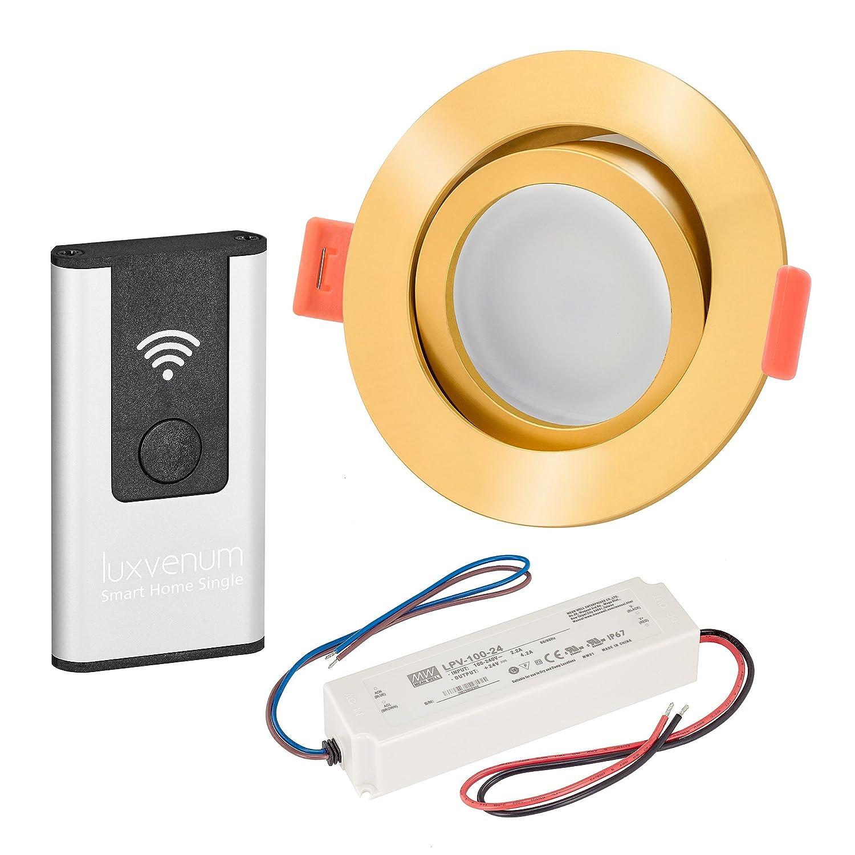 LUXVENUM®   3er-Set Alexa Echo® Smart Home kompatible LED-Einbaustrahler 230V extra flach 25mm DIMMBAR 6W statt 70W goldenes Aluminium & Milchglas rund warmweiß 3000K