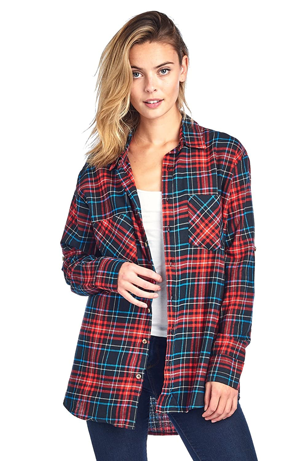 2de924746 Oversized (One Size) Plaid Flannel Long Sleeve Shirt features Two Front  Chest Pockets, Collar, Button Up Closure, and tab on sleeves.