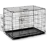SmithBuilt Portable Dog Crate Cage - Folding Two-Door Metal Wire Pet & Animal Kennel - ABS Tray Pan - Black - Various Sizes