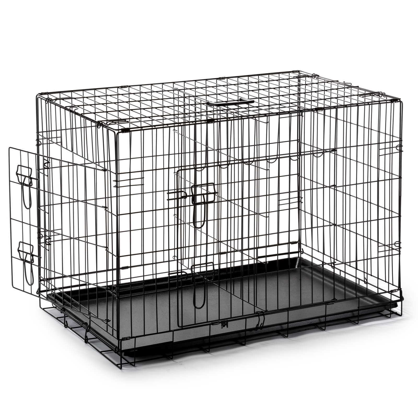 SmithBuilt Double Door Folding Metal Dog Crate, 48 Inch Long with Divider