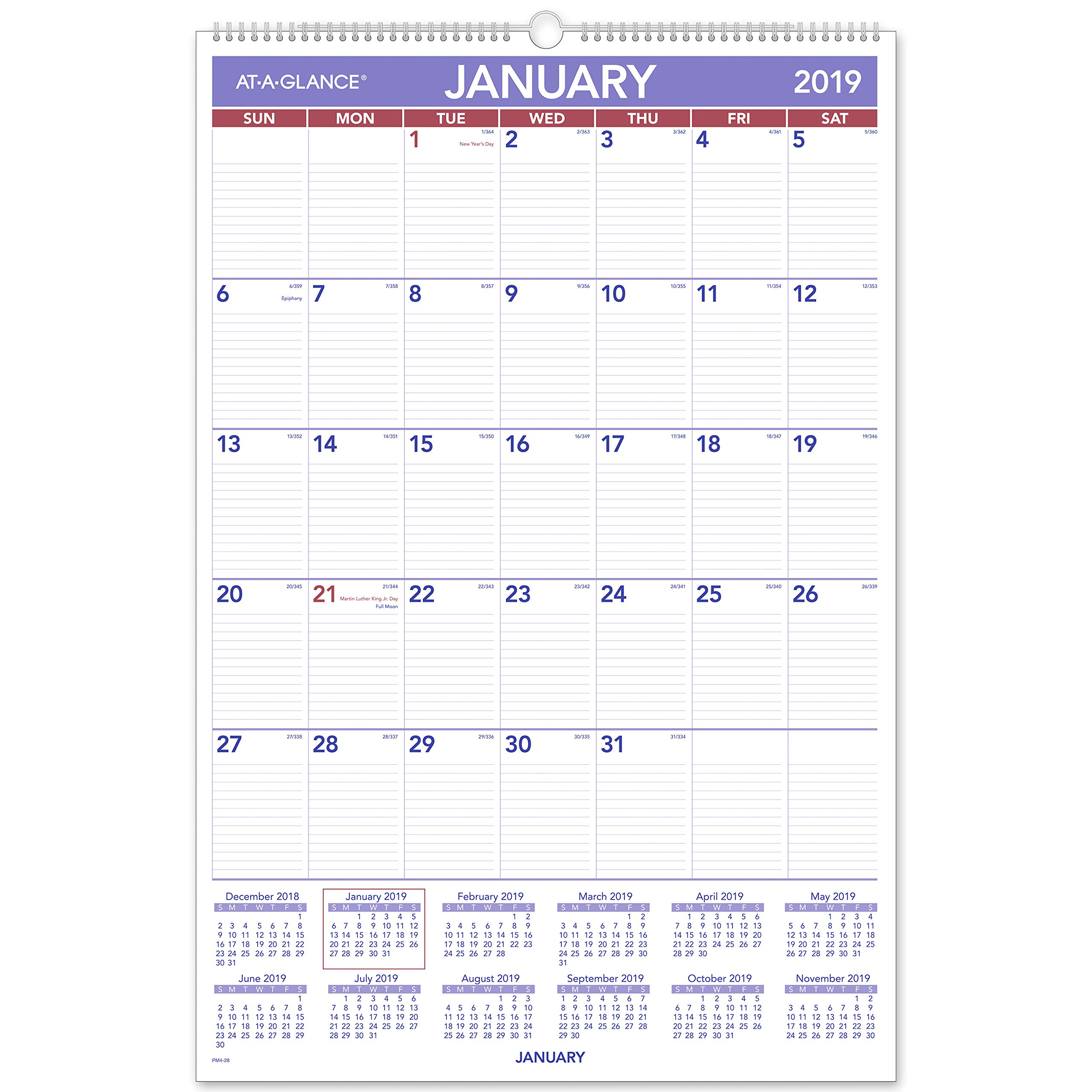 AT-A-GLANCE 2019 Monthly Wall Calendar, 20'' x 30'', XLarge, Wirebound (PM428) by AT-A-GLANCE