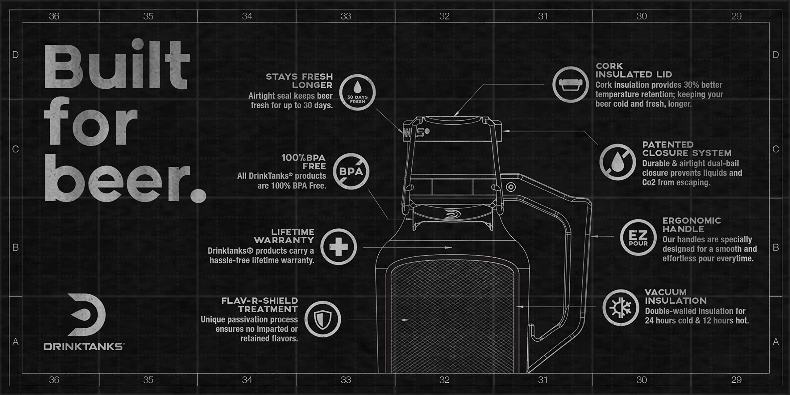 DrinkTanks 64 oz Vacuum Insulated Stainless Steel Beer Growler by DrinkTanks (Image #5)