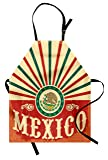 Ambesonne Mexican Apron, Retro Pop Art Style Mexico