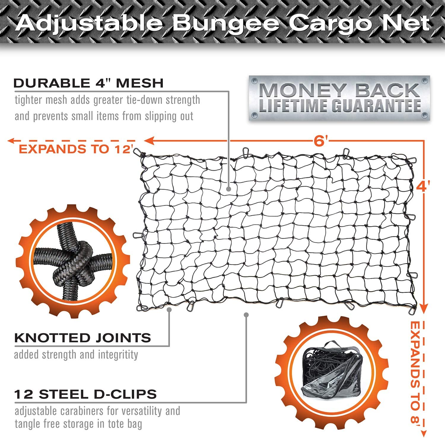 Small 5.5 Mesh Holds Small and Large Loads Tighter 24 Tangle-Free D Clip Carabiners 5x7 Super Duty Bungee Cargo Net for Truck Bed Stretches to 10x14