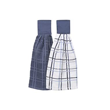 Ritz Kitchen Wears 100% Cotton Checked & Solid Hanging Tie Towels 2 Pack, Federal Blue 2 Piece