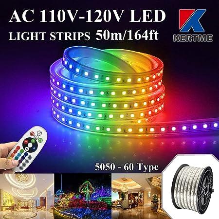 5-100m 5050 SMD 60 LED Strip Light 110v High Voltage Flexible IP67 Waterproof
