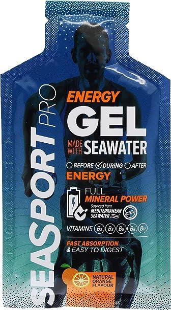 Gel Energético Seasport Pro Natural con agua de mar, sabor naranja, 10 sobres de