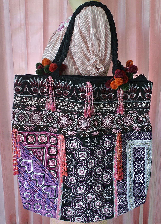 Unique Hmong Tribal Ethnic Handmade Vintage Embroidery Bag Handbag Thailand LU35