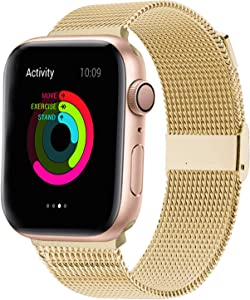 QIENGO Compatible with Apple Watch Band 42mm 44mm,Stainless Steel Mesh Loop Replacement for iWatch Band Series 5 4 3 2 1(Gold,42mm/44mm