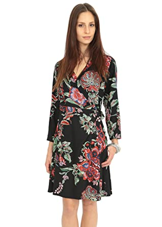 60f7430ecf likemary V-Neck Wrap Dress with 3 4 Sleeves in Tropical Floral Print ...