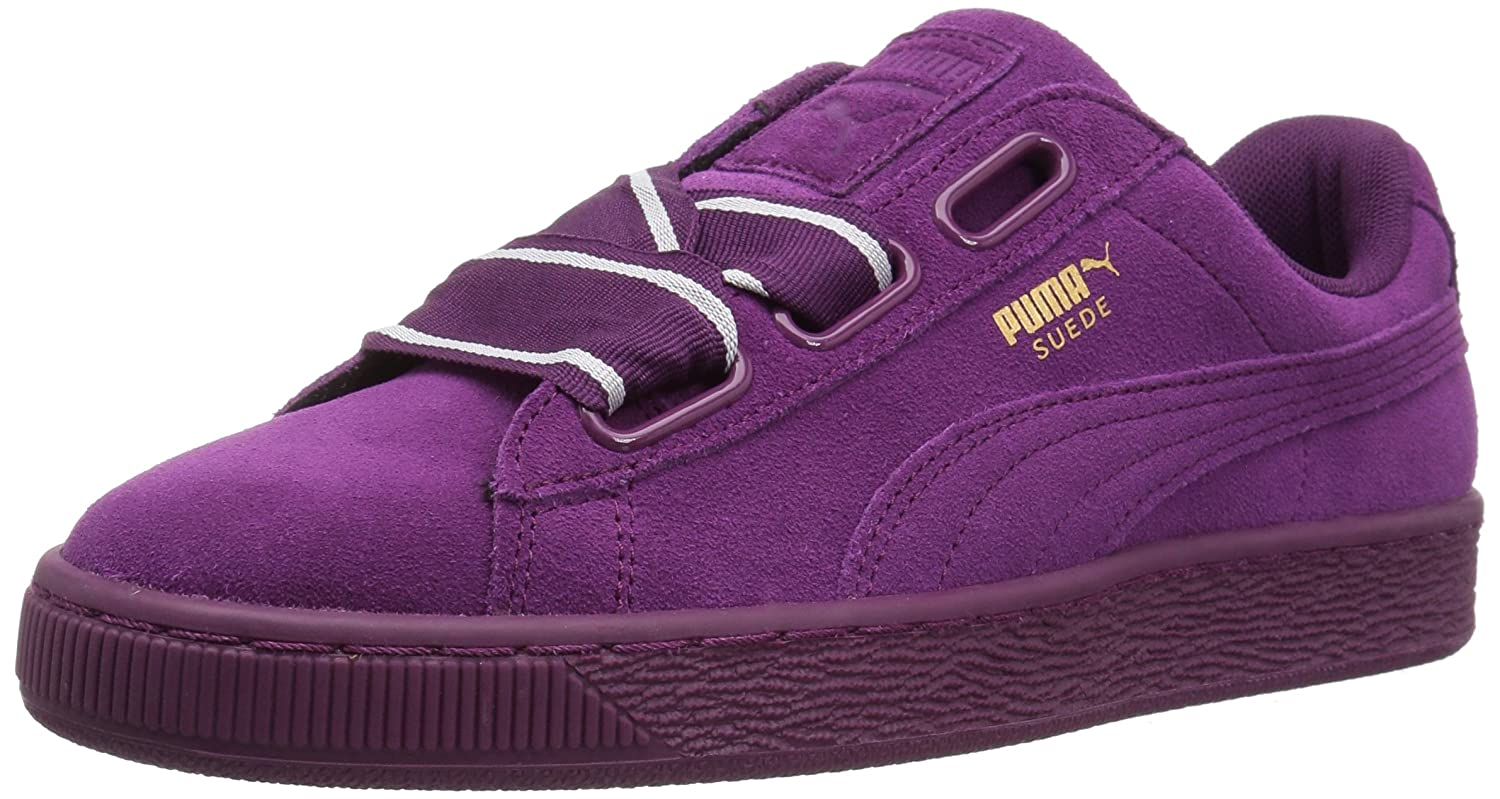 PUMA Women's Suede Heart Satin Wn Sneaker B0733W72RD 7 M US|Dark Purple-dark Purple