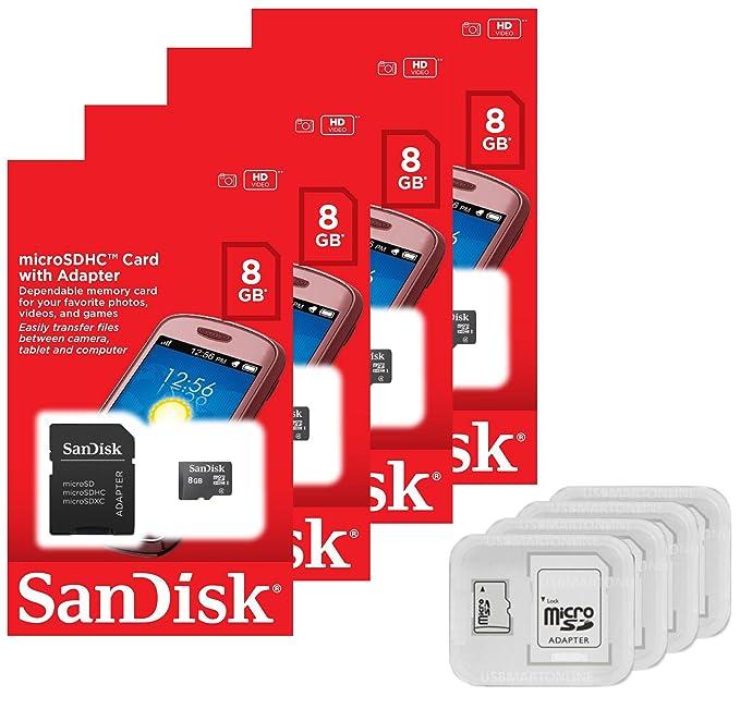 Amazon.com: 4 unidades – SanDisk 8 GB MicroSDHC Tarjeta de ...
