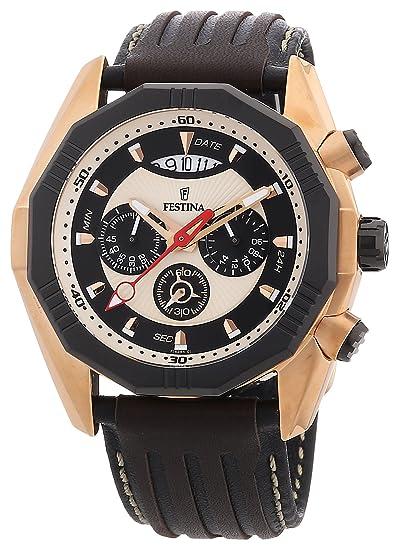 Festina F16384/1 - Reloj cronógrafo de cuarzo para hombre con correa de piel, color negro: Festina: Amazon.es: Relojes