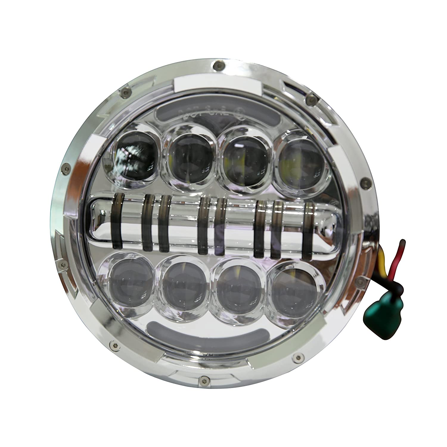 Wisamic 7' 80W Motorcycle LED Headlight Angle Eyes with Amber Signal Halo DRL Halo Compatible with Street Glide Road King Ultra Classic Electra Tri Cvo Heritage Softail Deluxe Fatboy-Silver