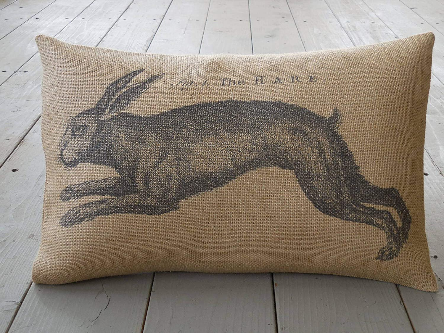 French farmhouse burlap pillow cover with bunny