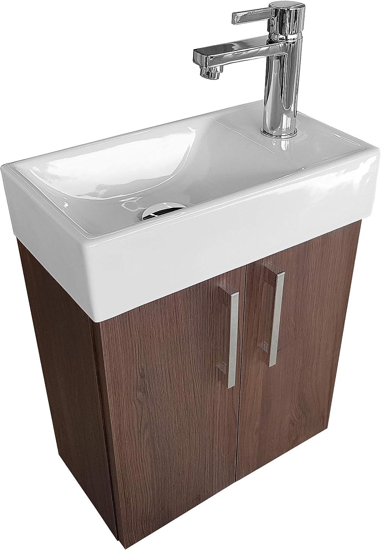 Mueble de baño pequeño con Lavabo en roble oscuro Lavabo con armario inferior, pequeño lavabo del baño 40x22cm, izquierda/derecha, color roble oscuro